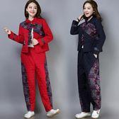 秋冬新款棉麻民族風印花拼接盤扣加厚棉衣中年媽媽套裝洋裝 限時降價