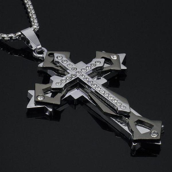 鈦鋼十字架項鍊 韓版男士項鍊 聖經十字吊墜個性霸氣潮項鍊男配飾 自由