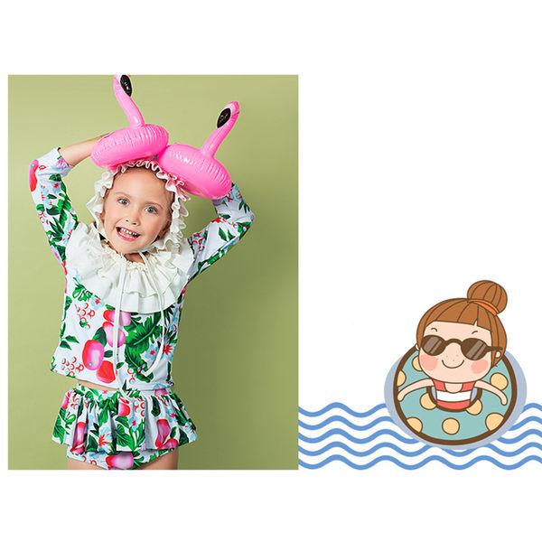 兒童泳裝 萌 造型 花邊 短褲裙 兩件套 七分袖 兒童泳裝【SFC2030】 ENTER  12/14