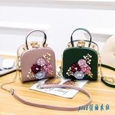 女小方包包盒子包2020手拿包迷你手提包單肩斜挎包鏈條包小包花朵晚宴 OO7979『pink領袖衣社』