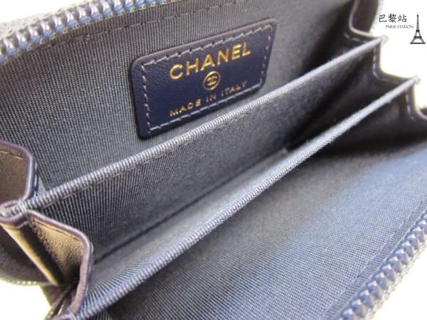 【巴黎站二手名牌專賣】*全新現貨*CHANEL 真品*A80602 BOY金釦藍色經典菱格荔枝紋拉鍊零錢包