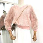 新款時尚韓版甜美風寬松拼接純色v領毛衣女