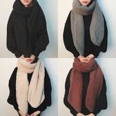 韓國新款羊羔絨圍巾加厚保暖復古百搭韓版情侶女純色森系學生圍脖 童趣