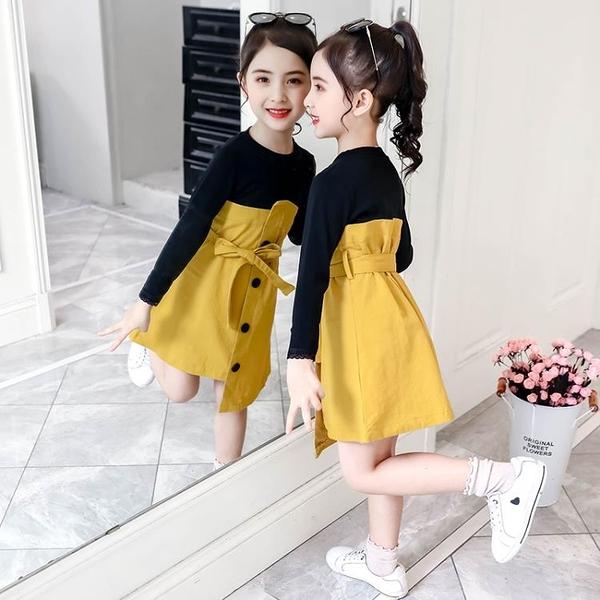女童洋裝 長袖拼接連身裙秋冬2021新款韓版秋款兒童裙子洋氣秋裝女孩公主裙 8號店