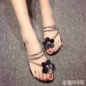 花朵人字拖 甜美漆皮平底夾趾涼拖鞋防滑涼鞋 米蘭shoe