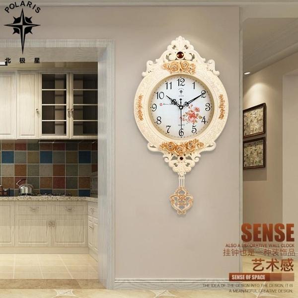 北極星歐式鐘表創意掛鐘搖擺時尚個性掛表復古靜音客廳時鐘石英鐘TW【快速出貨】
