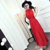 裙子夏女2018新款韓版氣質名媛掛脖無袖漏肩顯瘦洋裝長裙潮