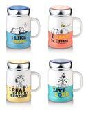 SNOOPY 史努比 小日子陶瓷蓋杯 500ml(顏色隨機出貨)牛奶杯 陶瓷杯◎花町愛漂亮◎AB