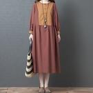 棉麻日系撞色設計洋裝 獨具衣格 J3133