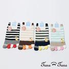 【Tiara Tiara】日系豆柴繽紛五指襪(藍條紋/綠條紋/卡其條紋/黑條紋)
