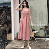 無袖洋裝 夏季新款女裝中長款抹胸格子高腰修身顯瘦學生無袖打底洋裝長裙·夏茉生活