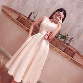 斜肩連身裙氣質新款時尚修身顯瘦大擺禮服裙夏裝露肩純色短裙【台秋節快樂】