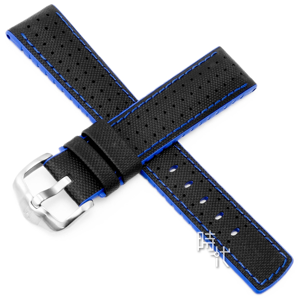 【台南 時代鐘錶 海奕施 HIRSCH】小牛皮錶帶 橡膠芯 Robby L 藍色 附工具 0918094050 複合式性能