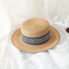 夏天平頂小禮帽復古風女士太陽帽遮陽防曬沙灘度假英倫爵士草帽子