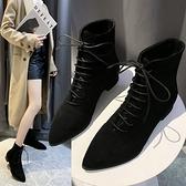 短靴 網紅瘦瘦靴英倫風粗跟馬丁靴子女秋冬季新款加絨尖頭短靴百搭女鞋 霓裳細軟