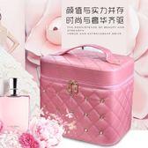 化妝包 女大容量雙層多功能便攜簡約化妝品收納盒網紅手提化妝箱 js15133『Pink領袖衣社』