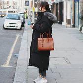藍色巴黎 ★ 秋冬 韓版連帽毛領過膝羽绒棉長袖外套 風衣 大衣《2色 》【28614】