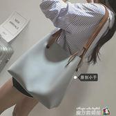 2018新款女包潮韓版撞色水桶包復古簡約單肩包休閒手提子母大包包 魔方數碼館