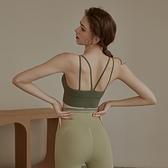美背運動背心女防震聚攏性感吊帶健身文胸夏季薄款跑步瑜伽內衣 pinkq時尚女裝