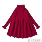 兒童裙子系列 女童打底洋裝加絨秋冬高領兒童針織公主裙寶寶毛衣裙紅色裙子冬 快意購物網