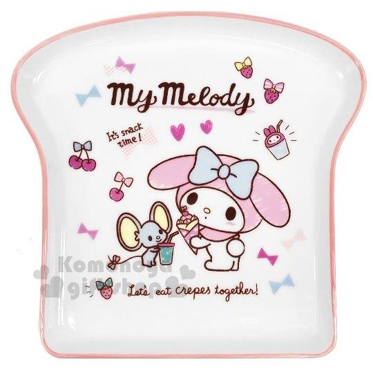 〔小禮堂〕美樂蒂 吐司造型陶瓷盤《粉白》點心盤.沙拉盤 4713218-89638