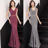 洋裝 夏女裝性感低胸V領露肩主持人晚宴禮服裙修身包臀魚尾連身裙-炫科技