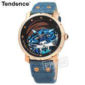 Tendence 天勢表 / TG230402 / 霸氣視覺 老虎 礦石強化玻璃 防水100米 帆布真皮手錶 黑藍x玫瑰金框 47mm