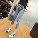 夏季薄款七分牛仔褲女高腰彈力修身顯瘦直筒褲韓國破洞毛邊九分褲 韓國時尚週