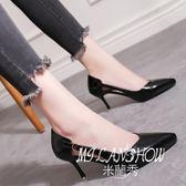 鞋韓版百搭尖頭皮帶扣高跟鞋細跟復古單鞋簡約貓跟