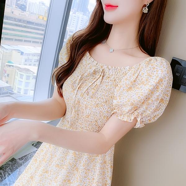 VK精品服飾 韓系泡泡袖繫帶寬領雪紡印花收腰修身短袖洋裝