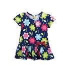洋裝 連身衣 短袖 女童 藍底 滿版彩花...