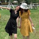 夏季2020新款法式小眾收腰黑色連身裙女夏天氣質復古顯瘦A字裙子