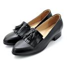 karine(MIT台灣製)全真皮流蘇低跟樂福鞋-原皮黑