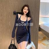 掛脖設計感運動風吊帶裙子季韓版長袖緊身收腰顯瘦包臀洋裝女 快速出貨