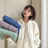 春秋新款韓版休閒純色加絨長袖連帽開衫衛衣外套上衣學生女裝