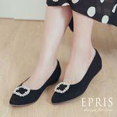 現貨 MIT小中大尺碼尖頭低跟鞋推薦 桂冠女神坡跟鞋 22-26.5 EPRIS艾佩絲-酷黑