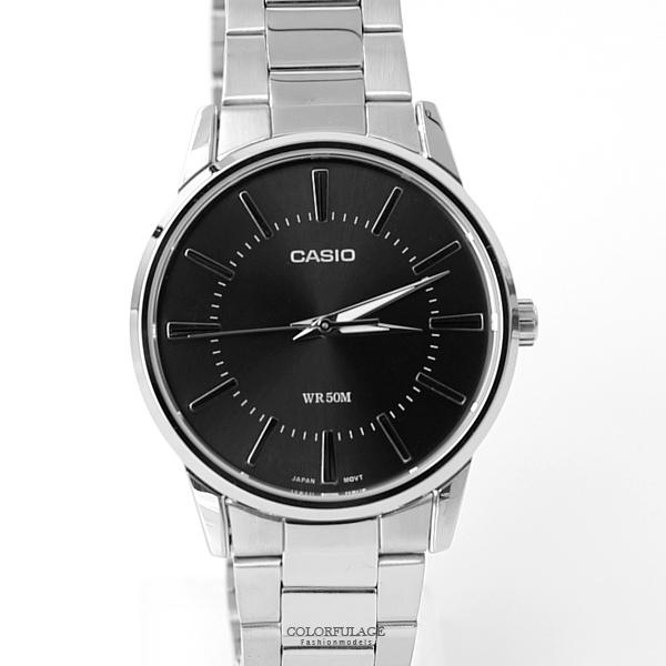 CASIO卡西歐經典簡約黑色腕錶 不鏽鋼錶帶 防水50米 柒彩年代【NEC134】