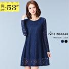 連身裙--顯瘦優雅蕾絲緹花透膚袖A字下襬圓領長袖洋裝(黑.藍XL-5L)-A257眼圈熊中大尺碼◎