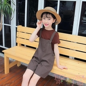 女童新款童裝兒童闊腿褲時髦套裝短褲背帶褲洋氣兩件套潮【聚可愛】