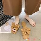 沙灘鞋 仙女風蝴蝶結涼拖鞋女外穿2021夏季新款平底配裙子穿的沙灘拖鞋女 愛丫 新品