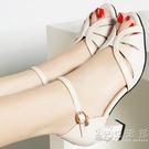 女鞋性感魚嘴高跟鞋2021新款夏季粗跟魚嘴鞋一字帶涼鞋女時裝涼鞋 小時光生活館