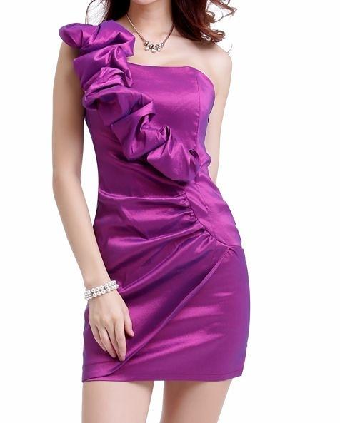 (45 Design) 現做新款秋春季晚禮服 短款斜單肩韓版性感小禮服 敬酒禮服連衣裙