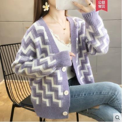 VK旗艦店 韓國風波浪紋針織V領寬鬆外套單品長袖上衣