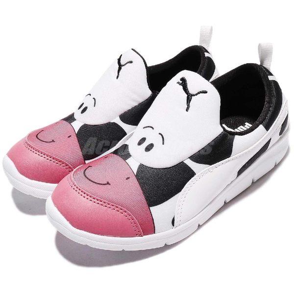 Puma 慢跑鞋 Bao 3 Zoo PS 白 黑 乳牛 無鞋帶設計 卡通設計 童鞋【PUMP306】 19010703 19010703
