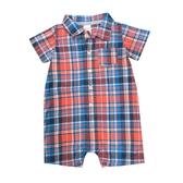 Carter s卡特 襯杉西裝短袖兔子裝 紅格 | 男寶寶連身衣(嬰幼兒/baby/新生兒)