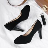 職業女鞋 細跟高跟鞋淺口單鞋女秋季2019新款黑色職業鞋英倫風鞋子圓頭女鞋 小宅女