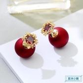耳環 聖誕適合冬天的耳釘2019新款潮耳環網紅女氣質紅色過年耳飾耳墜 歐米小鋪