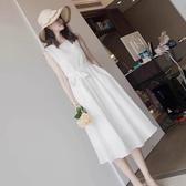 連身裙夏白色連身裙氣質甜美夏款法式復古裙很仙過膝仙女超仙森系蕾絲長裙LX 嬡孕哺