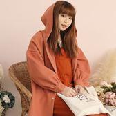 Poly Lulu 落肩小澎袖連帽排釦毛呢外套-粉橘【93040033】