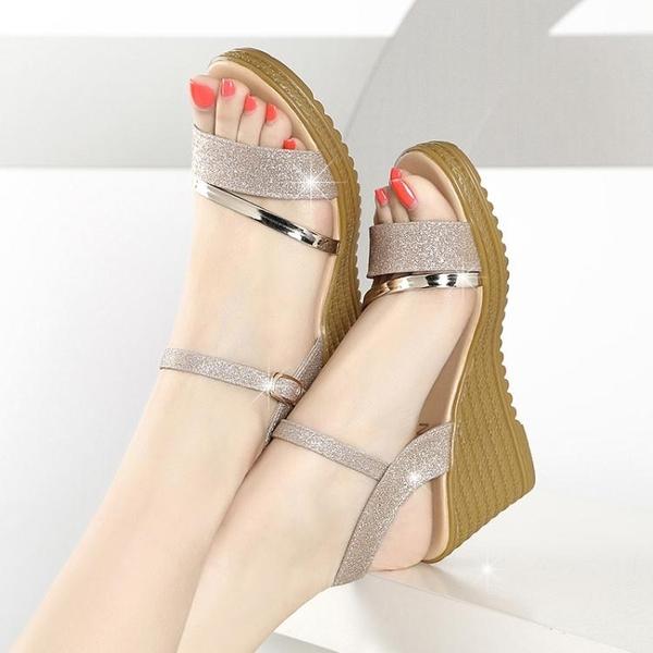 厚底涼鞋 春夏季女鞋厚底楔形涼鞋女平底高跟鞋百搭粗跟防滑厚底魚嘴學生鞋子潮